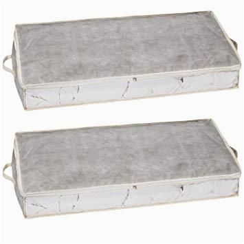 Aufbewahrung Unter Bett Stoff 2er Set Unterbettkommode Aufbewahrungstasche Aus Stoff Für Bettdecken Kissen Etc Aufbewahrungsbox Unterbettbox Betttasche Groß Bett Stauraum