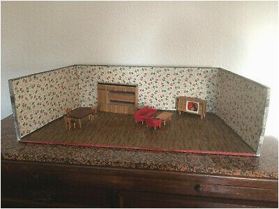 Puppenzimmer Puppenstube Holz 88 cm 50er Jahre