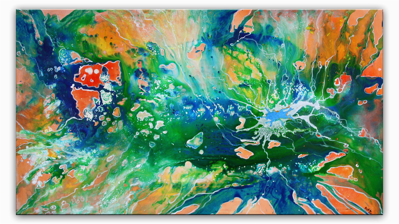 biotop liquid painting gruen rot blau malerei abstrakt acrylbild