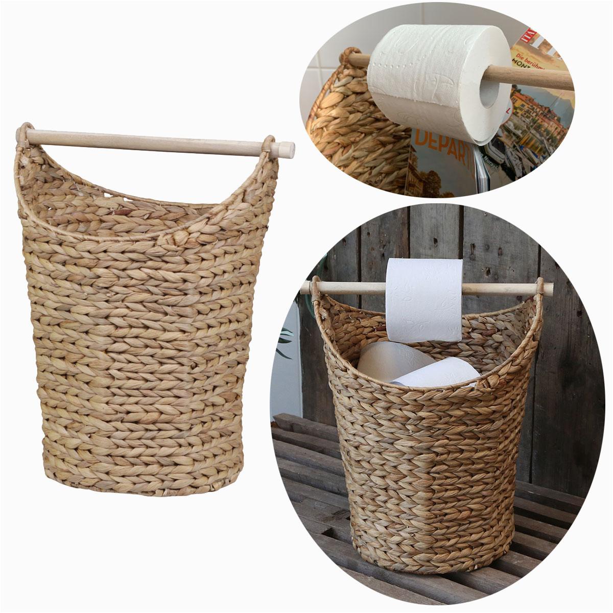 Chic Antique Toiletten Papierhalter Deko Korb Papier Rollenhalter WC Braun
