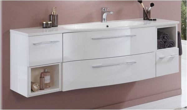 Marlin Bad 3160 Motion Waschtisch mit Unterschrank 150 cm breit Becken rechts mit Einschubregal 600x600