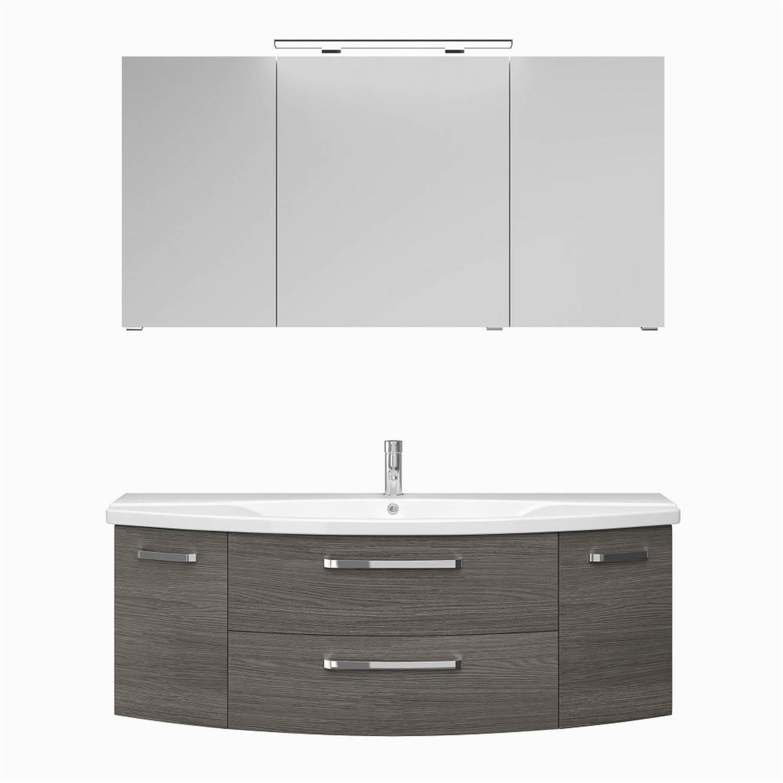 badezimmer waschplatz in graphit struktur quer nb fes 4010 66 mit waschbecken unterschrank spiegelschrank b h t 144 0 50cm