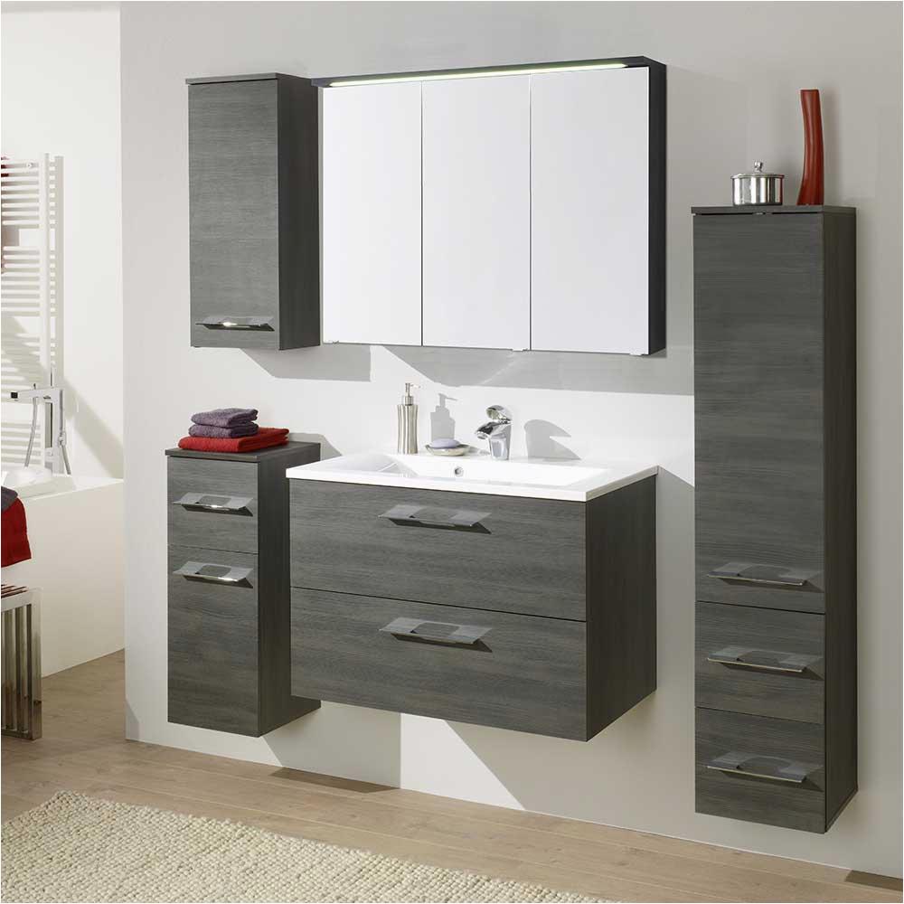 haus mobel badezimmermobel gunstig badmoebel set ectria in graphit grau komplett 5 teilig
