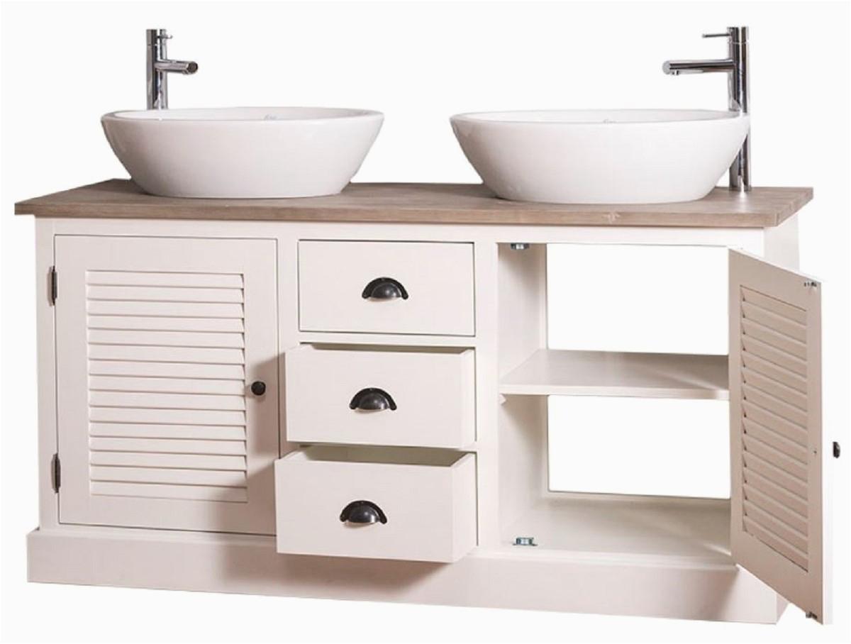 casa padrino landhausstil doppel waschtisch mit 2 tren und 3 schubladen creme naturfarben 150 x 51 x h 75 cm badezimmermbel im landhausstil