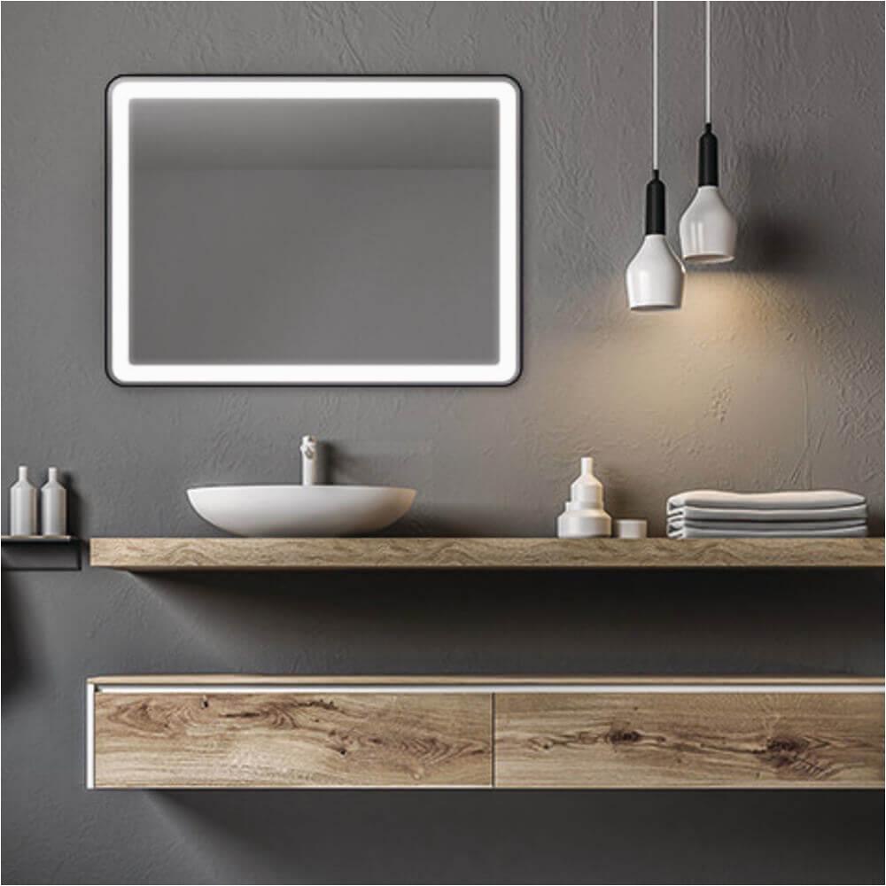 badspiegel mit abgerundeten kanten led rahmen schwarz lucente