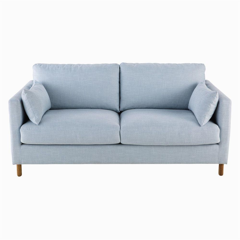 Holz sofa Ausziehbar Ausziehbares 3 Sitzer sofa Gletscherblau
