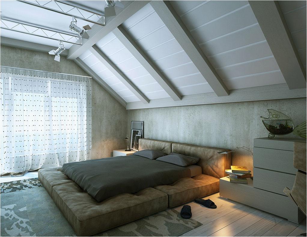 Moderne schlafzimmer Dachschräge Design mit betonwände