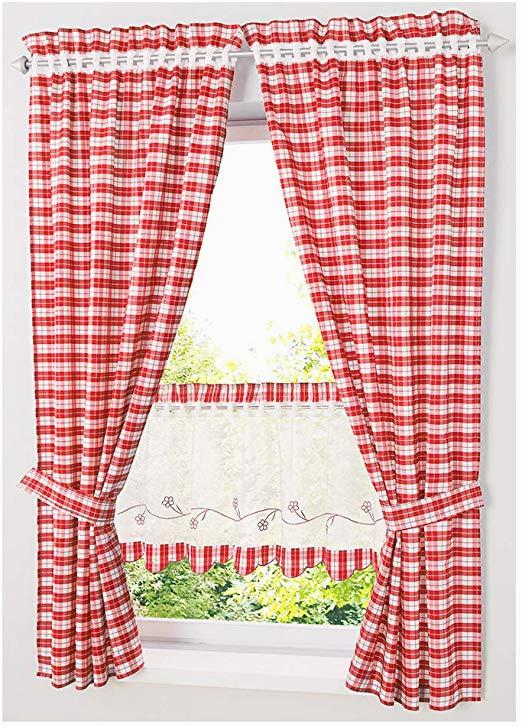 Küche Weiß Pink Necohome Küche Gardine Im Landhausstil 2er Set Tunnelzug Karo Raffrollo Vorhang Mit Raffhalter 2 Vorhänge 2 Raffhalter Rot Weiß 80x120cm