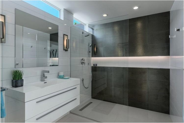 badezimmer begehbare dusche glas trennwand nische