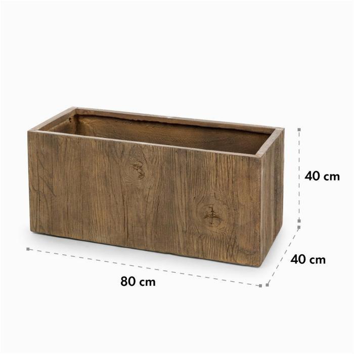 Timberflor Pflanztopf 80 x 40 x 40 cm Fiberglas In Outdoor braun 80 x 40 x 40 cm