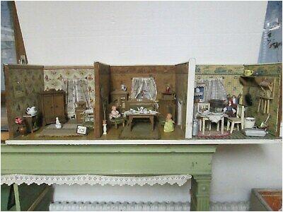 Vintage Puppenhaus Puppenstube ca 1910 20er Jahre Wohn Schlafzimmer Küche