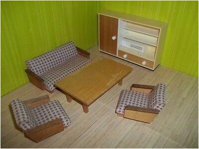 Altes Wohnzimmer Pepita rot 50er Jahre Puppenstube Puppenhaus