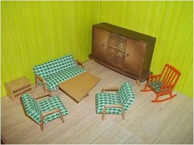 Altes Wohnzimmer Pepita grün 50er Jahre Puppenstube Puppenhaus