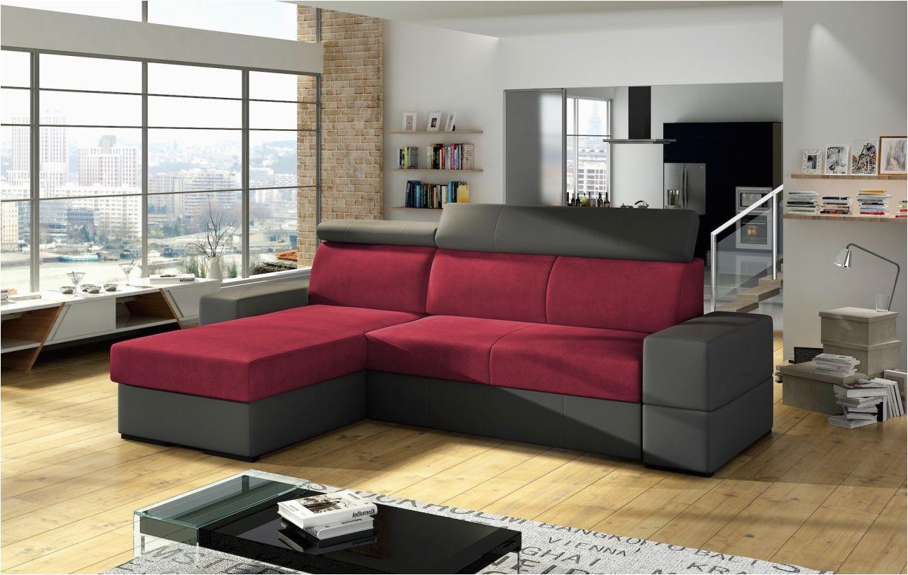 ecksofa sofa marios mit schlaffunktion grau weinrot ottomane links