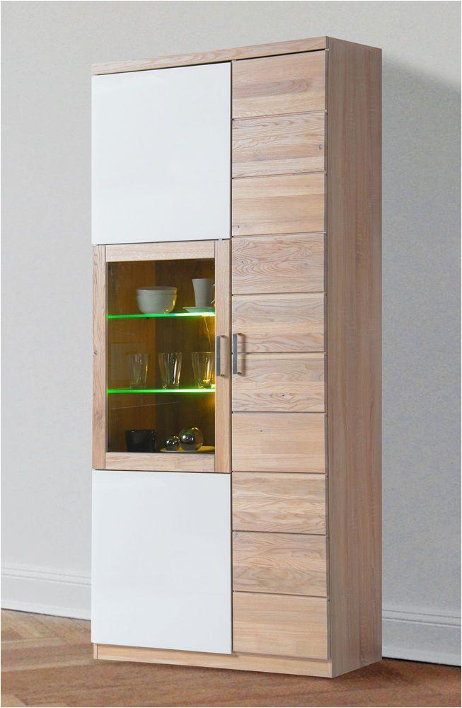 Moderne Küche Shabby Vitrine 7301 3 Schrank Glasvitrine sonoma Eiche Sägerau