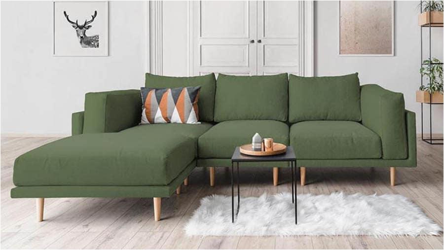 scandi sofa set 3 sitzer mit hocker und kissen in leder optik feydom clooods alveare pinie