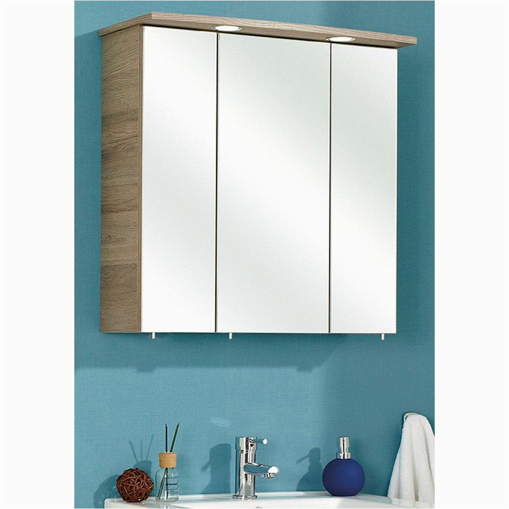 badezimmer spiegelschrank in san remo eiche terra bacoli i 3 tuerig inklusive led einsatzbeleuchtung offenbach 65 x 72 cm 8