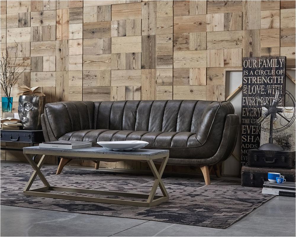 Sofa vintage Leder Grau Oil Dialma Brown DB 1