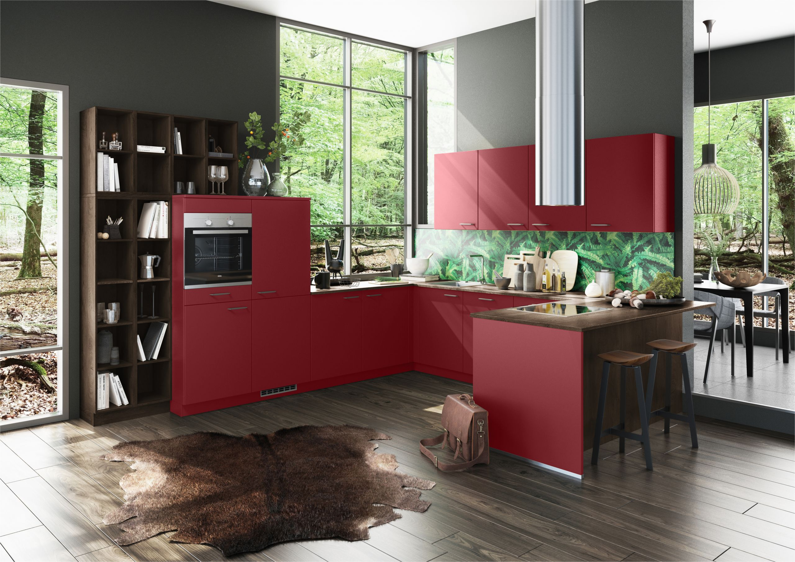 Rot Graue Küche Kuchen Grau Holz