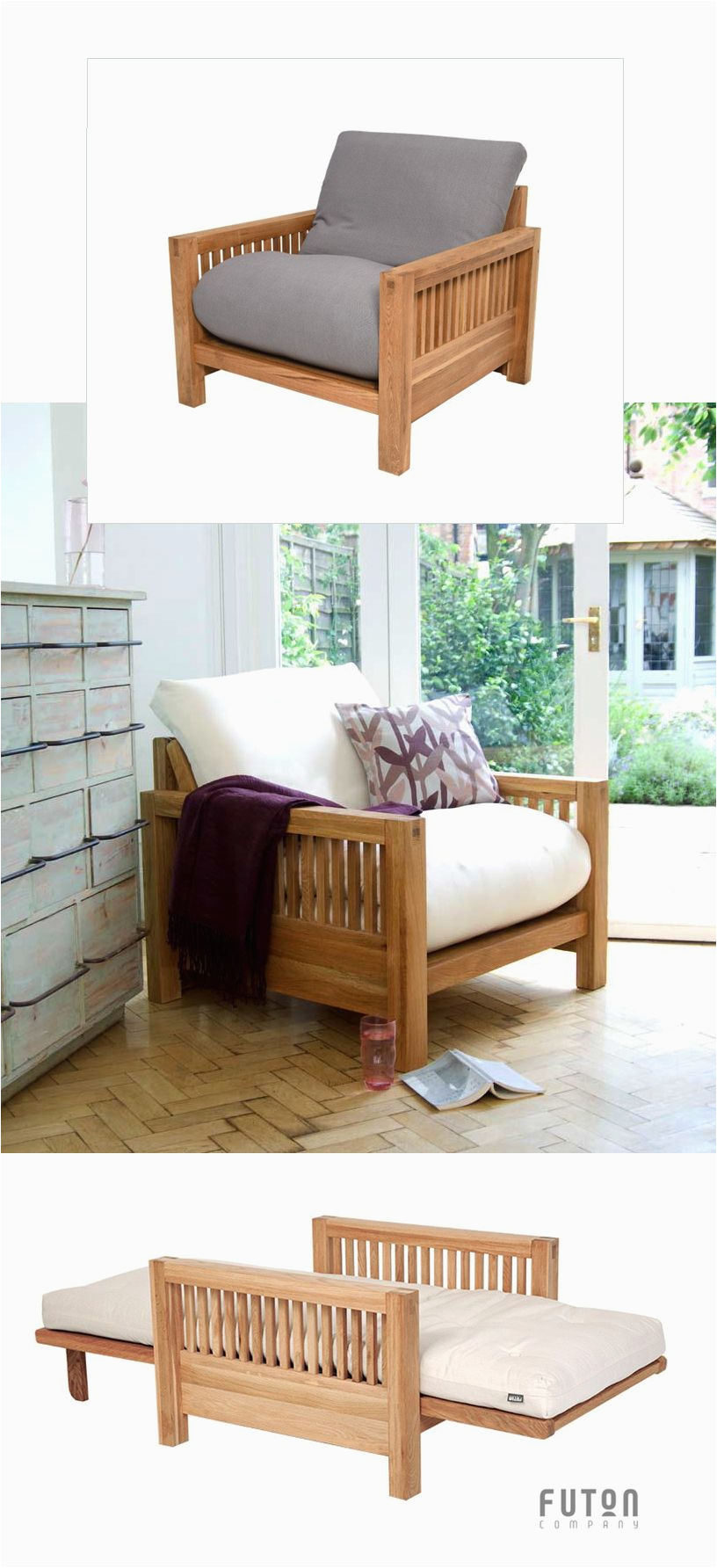 Single sofa Design Oke Single Seater Oak sofa Bed