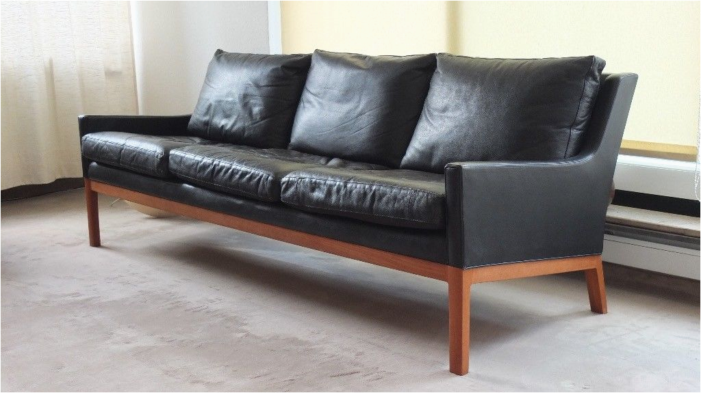 Danish Design Midcentury Modern Ledersofa schwarz Teak 60er Style Borge Mogensen 1