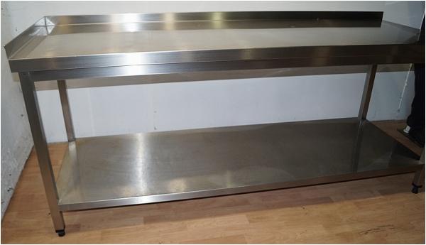 edelstahl arbeitstisch edelstahltisch gastro kuechentisch 200x85x70cm