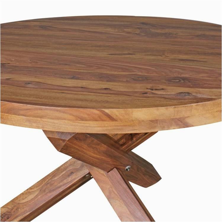 Design Esszimmertisch rund R 120 cm x 75 cm Sheesham Massiv Holz Landhaus Esstisch 4 Personen Kuechentisch Tisch fuer Esszimmer braun