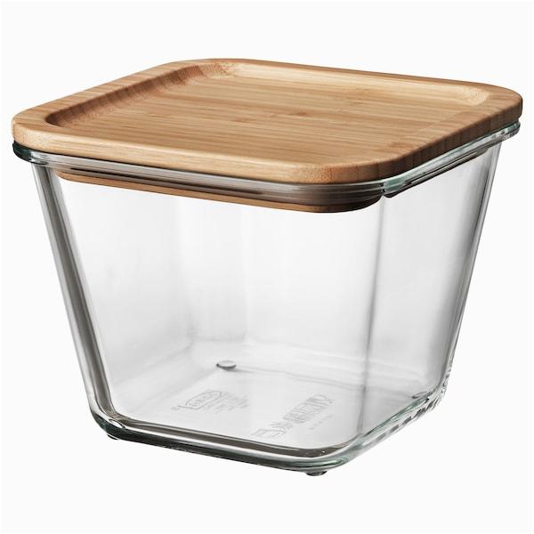 ikea 365 vorratsbehaelter mit deckel quadratisch glas glas bambus s