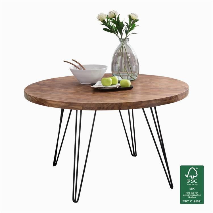 Design Esszimmertisch BAGLI rund R 120 x 78 cm Sheesham Massiv Holz Landhaus Esstisch braun Tisch fuer Esszimmer Kuechentisch 4 Personen
