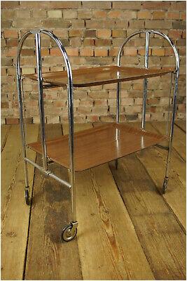 60er Dinett Servierwagen Teewagen Tisch Beistelltisch Bar Nussbaum