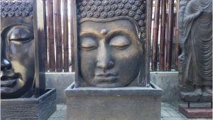 Buddha Brunnen Wasserfall Garten Buddha 2 Seiten Relief Brunnen 110cm Wasserspiel Lava