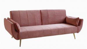 Design sofa Velvet Retro Schlafsofa Divani 215cm Altrosa Samt Goldene Füße