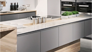 Dunkelgraue Küche Mit Holz Kuchen Grau Holz