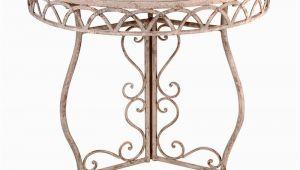 """Halbrunder Tisch Garten Gartentisch ˜ 76cm """"gealtertes Metall"""""""