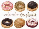 Kuchen Zum Malen Aquarell Krapfen Clipart Bäckerei Süßigkeiten Clipart