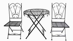 Metall Stuhl Und Tisch Garten Gartenset Tisch 2 X Stuhl Metall Antik Stil Garten