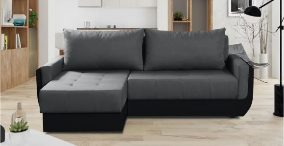Relax form sofa Ecksofa sofa Sania Mit Schlaffunktion Schwarz Grau Ottomane Links
