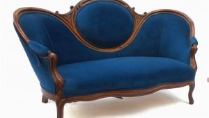 Wohnzimmer Antikes sofa 19th Century Antique Victorian sofa Blue Upholstery Loveseat