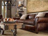 Wohnzimmer Antikes sofa Brown Leather sofa Large Map Over sofa Light Fiber Rug