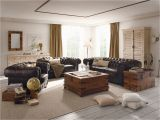 Wohnzimmer Einrichtung Braunes sofa Sk³rzane sofy Chesterfield